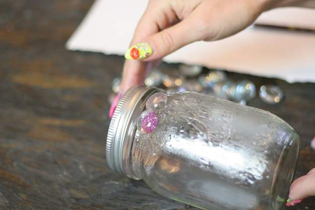 Apply glass elements to jar working from top down.