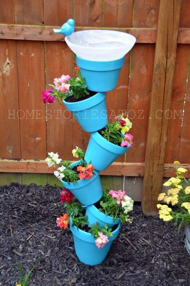 DIY Stacked Tower Pot Garden