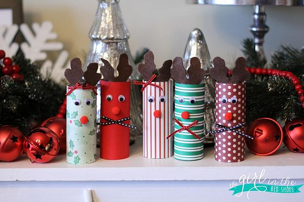 Homemade christmas decorations with rustic charm Toilet paper roll centerpieces